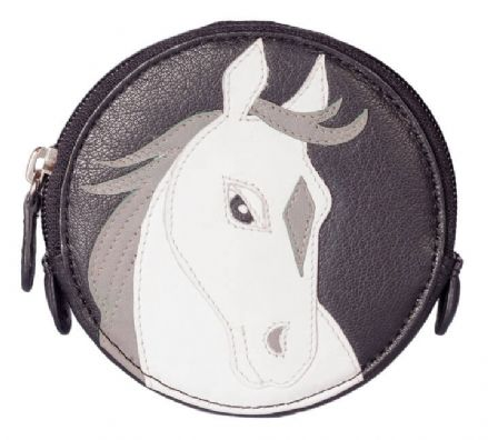 Pinky White Horse Round Black Leather Coin Purse